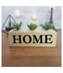 cubo decorativo com suculenta e letras em acrílico home único