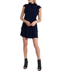 women's 1.state flutter sleeve drop waist knit dress, size small - blue