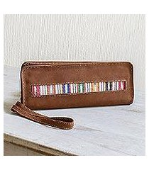 cotton-accented faux suede checkbook wallet, 'jocotenango stripe in white' (guatemala)