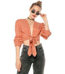 blusa naranja-beige glamorous