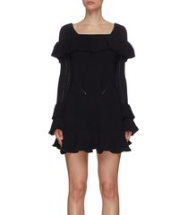 frill detail square neckline rib knit cable dress