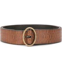 saint laurent monogram oval buckle belt - brown