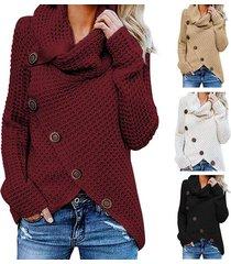 2019 otoño invierno suéter de cuello alto grueso grueso prendas de-rojo