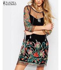 zanzea floral de las mujeres del cordón del bordado de malla 3/4 plus fashion mini vestido negro -negro
