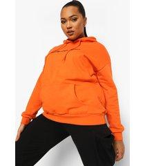 plus woman geborduurde hoodie met tekst, oranje