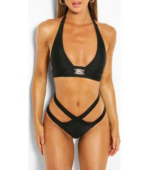 gem halterneck strappy triangle bikini, black