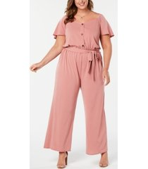monteau trendy plus size wide-leg jumpsuit
