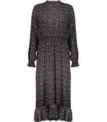 geisha 07620-20 999 jurk long smock & ruffles black/brown combi