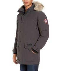 men's canada goose emory slim fit genuine coyote fur trim parka, size xx-large - grey
