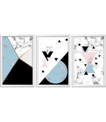 conjunto kit 3 quadro oppen house s 60x120cm escandinavo bifrost com vidro e moldura branca      quadro oppen house s decorativos - branco - dafiti
