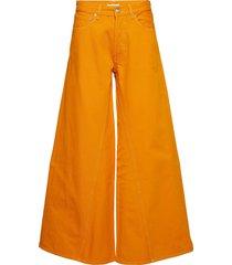 denim runway wijde jeans oranje ganni