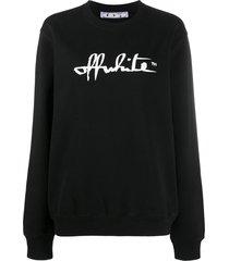 off-white script logo sweatshirt - black
