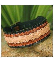 men's leather wristband bracelet, 'thai cowboy' (thailand)