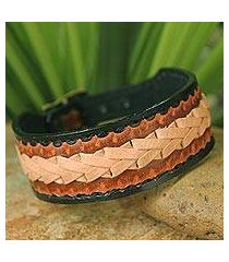 men's leather wristband bracelet, 'thai cowboy' (thailand)