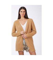 cardigan de tricot furry longo mostarda