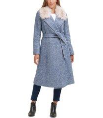 cole haan herringbone faux-fur-collar belted wrap coat