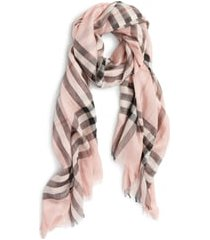 women's burberry giant check print wool & silk scarf, size one size - pink