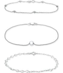 giani bernini 3-pc. set gold link chain bracelets, created for macy's