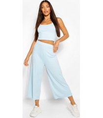 tall geribbelde crop top en culottes set, blauw