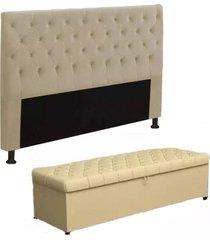 cabeceira mais calçadeira baú casal 140cm para cama box sofia corino bege - ds móveis