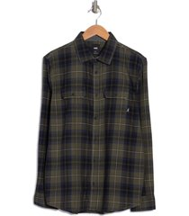 men's vans sycamore plaid flannel button-up shirt, size small - green