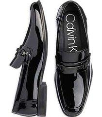 calvin klein dale black patent moc toe dress shoes