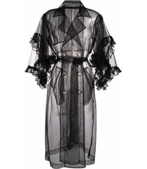 act n°1 sheer ruffled trench coat - black