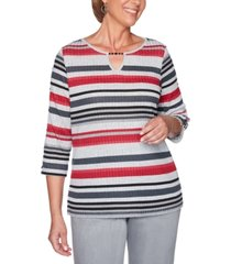 alfred dunner petite melange stripe knit well red top