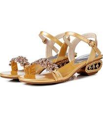 puntera redonda mujer rhinestone sandalias flip flops zapatillas de playa para las mujeres