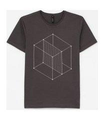 camiseta slim estampa cubo geométrico | request | cinza | gg