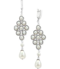pearl lace by effy cultured freshwater pearl (4-1/2mm, 8-1/2mm) lace drop earrings in sterling silver