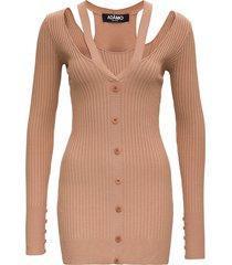 andrea adamo beige ribbed knit dress