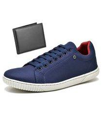 tênis sapatênis casual com carteira dubuy 940mr azul