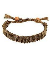 macrame wristband bracelet, 'braided golden olive' (indonesia)