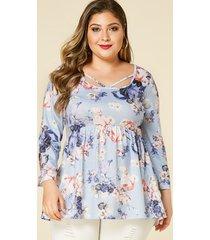 yoins plus talla azul estampado floral al azar redondo cuello blusa