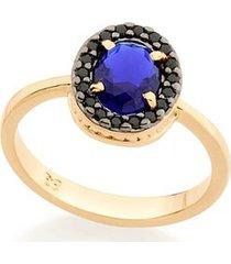 anel com cristal gota e zircônias negras rommanel