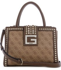 guess logo bling society signature satchel