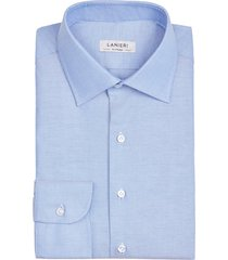 camicia da uomo su misura, thomas mason, blu oxford, quattro stagioni   lanieri
