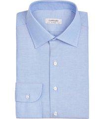 camicia da uomo su misura, thomas mason, blu oxford, quattro stagioni | lanieri