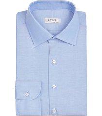 camicia da uomo su misura, thomas mason, blu oxford, quattro stagioni