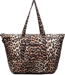 ganni leopard-print shoulder bag - brown
