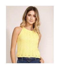 regata feminina halter neck em tricô alças finas decote redondo amarela