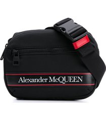 alexander mcqueen pochete com listras e logo - preto