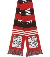 loewe jacquard winter scarf - red