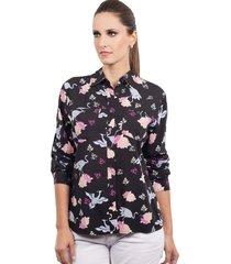 camisa love poetry floral preta - kanui