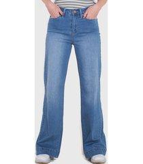 jeans wados palazzo un botón azul - calce holgado