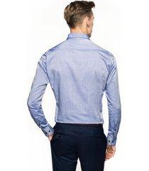 koszula bexley 2444 długi rękaw slim fit niebieski