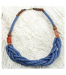 braided bead necklace, 'sosongo in blue' (ghana)