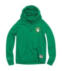 mitchell & ness women's boston celtics funnel neck fleece hoodie