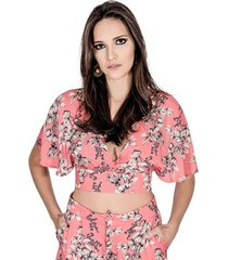 blusa cropped estampada colcci feminino